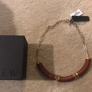 J.CREW METAL AND WOOD NECKLACE
